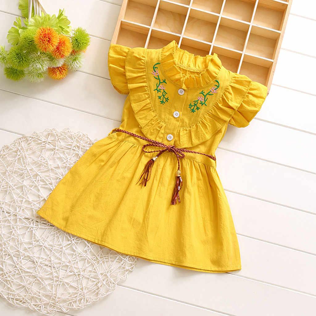 Huang Neeky W #4 2019 YENI Moda Rahat Sevimli Bebek Bebek Çocuk Kız Ruffles Dantelli Çiçek Prenses Elbise Giyim sıcak