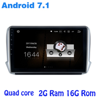 Quad core Android 7.1 car radio gps for Peugeot 208 2008 with 2G RAM wifi 4G USB RDS audio stereo mirror link NAVI