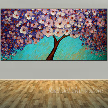 Large Size Hand Painted Abstract Blooming Pink Flower Canvas Oil Painting Palette knife Wall Art Pictures Living Room Home Decor