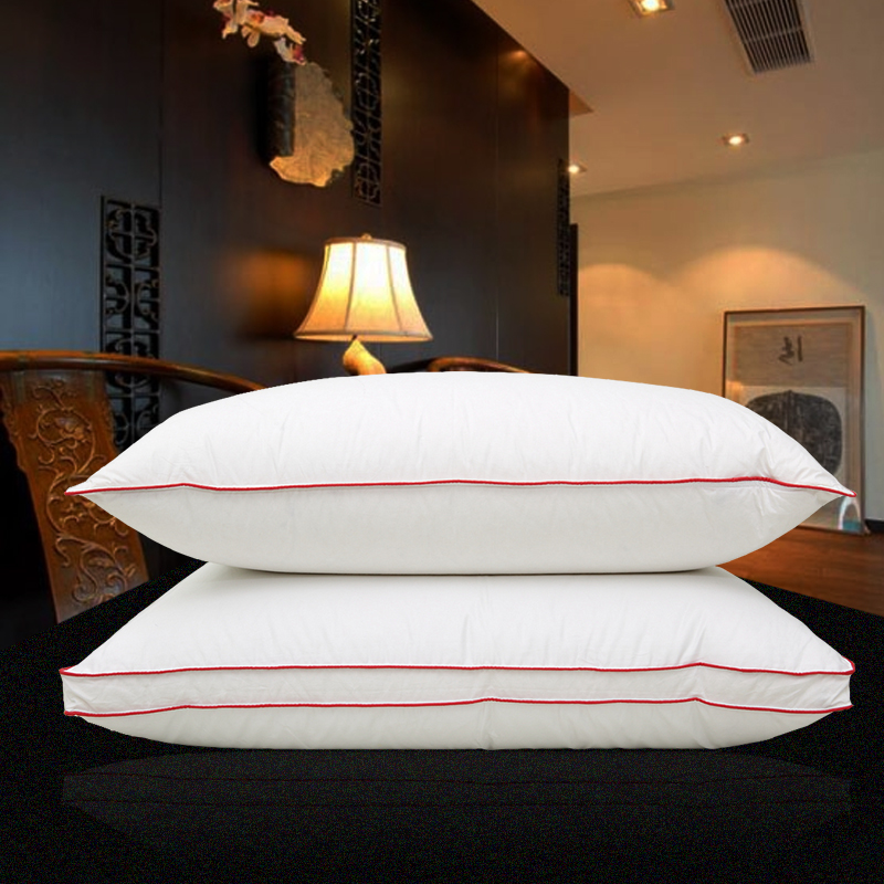 100% Goose Feather Pillow Down European five-star hotel cotton pillow shell single adult pillow white goose down three pillow 2pcs lot mulberry silk pillow five star hotel feather silk light pillows zero pressure memory neck health for bedding