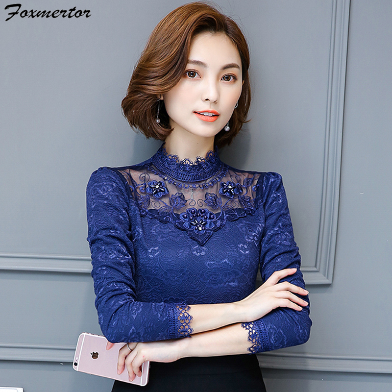 Lace Shirt Ladies Horny Hole Out Embroidery Lengthy Sleeve Style Shirt Feminine Tops Workplace Woman Informal Beading Blouses Clothes Blouses & Shirts, Low-cost Blouses & Shirts, Lace Shirt Ladies...