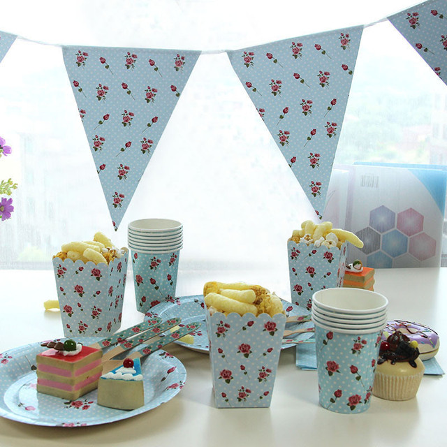 Blue Dotted Rose Vintage Disposable Paper Plates Cups Tissues ...