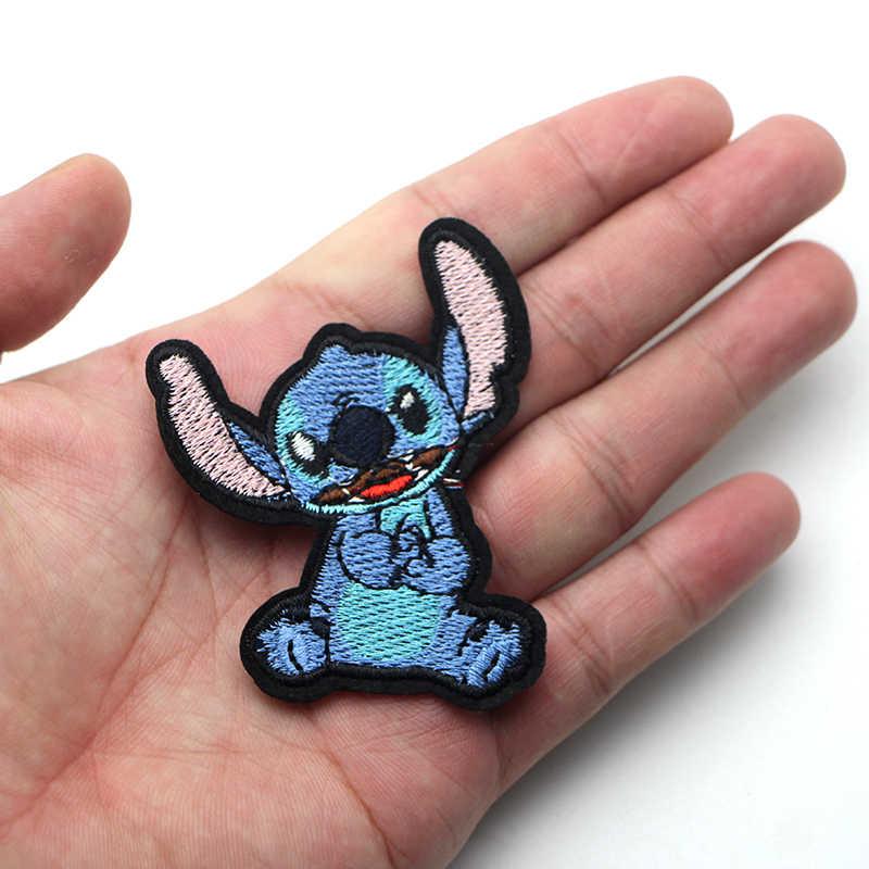 คู่ Lilo stitch เด็กการ์ตูนเหล็กบนแพทช์เสื้อผ้า para diy ปักป้ายเย็บ Applique Patchworks สติกเกอร์ E0077