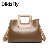 DikizFly Fashion Designer Womens Bag Artificial Leather Handbags Wide Totes Ladies Shoulder Bags Women Messenger Bags