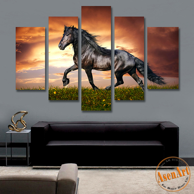 4f871ffb67a Large Animal Painting Running Black Horse Panel Canvas Prints ...