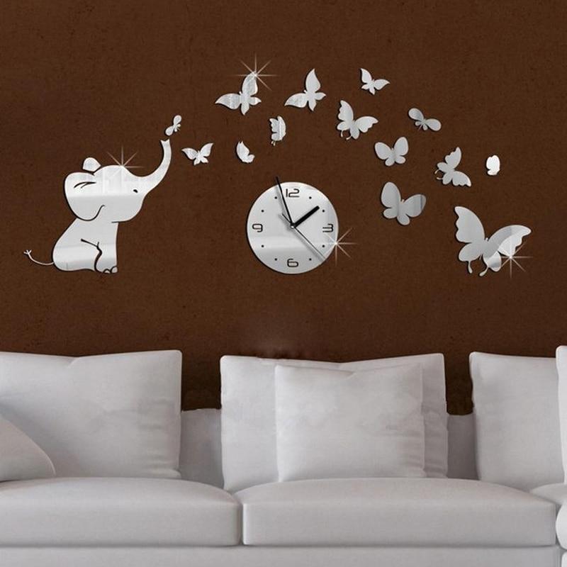 Hot acrílico espelhado móveis sala relógio de parede adesivos de espelho