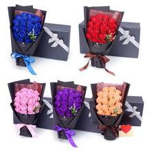 Розовое Мыло цветок Креативный дизайн подарок на день Святого Валентина 18 шт. консервированные розы цветок мыло букет Подарочная коробка Свадебная вечеринка Декор