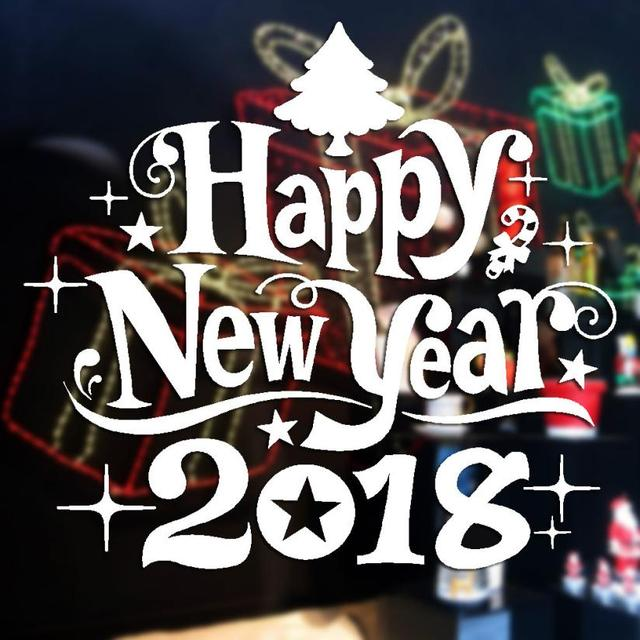 Online Shop Happy New Year 2018 wall stickers home decor diy ...
