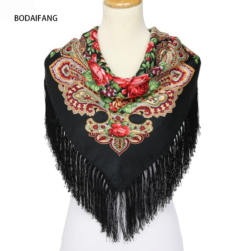 New 2018 Autumn Winter Fashion Warm Women Square Scarves Wraps Tassel Printed Europe and America Russia Ladies shawl Hot Sale