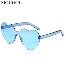 MOUGOL Fashion cute sexy retro Love Heart Rimless Sunglasses Women Luxury Brand Designer Sun glasses Eyewear Candy Color UV400