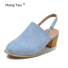 Sandalias de mujer verano cómodas sandalias con plataformas de tacón alto de cuero Vintage negro puntiagudos de punta azul negro zapatos de talla grande