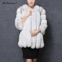 Для женщин Роскошные Искусственный мех пальто с длинным рукавом белый красный розовый Цветной Мех животных Пальто для будущих мам теплый п...