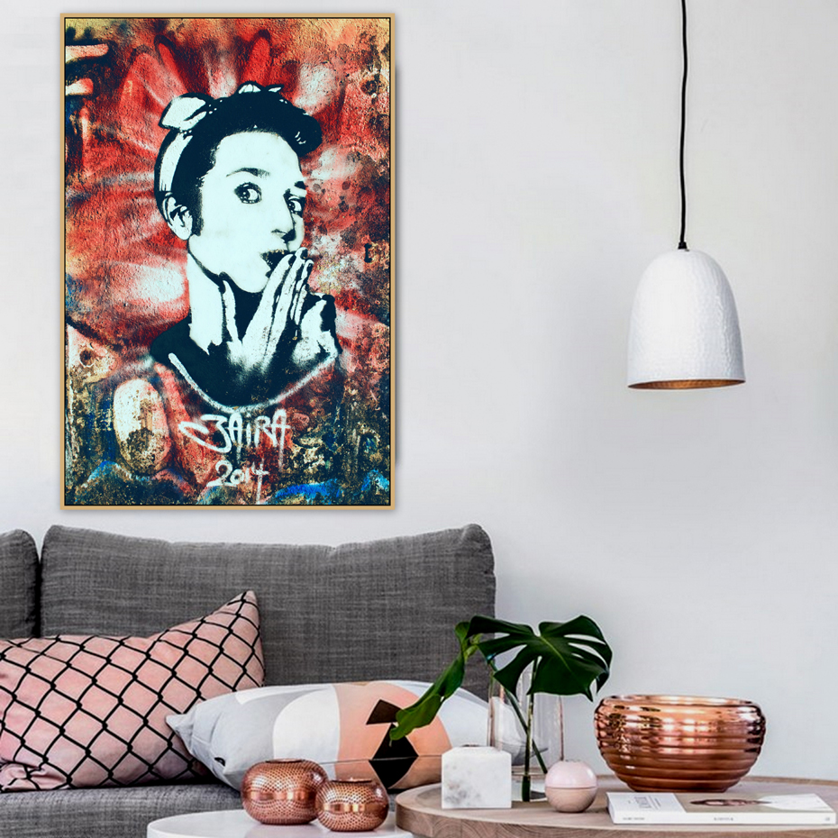 Hollywood Actress Audrey Hepburn Graffiti Street Art Canvas Painting Posters Prints POP Wall Pictures Living Room Home Decor