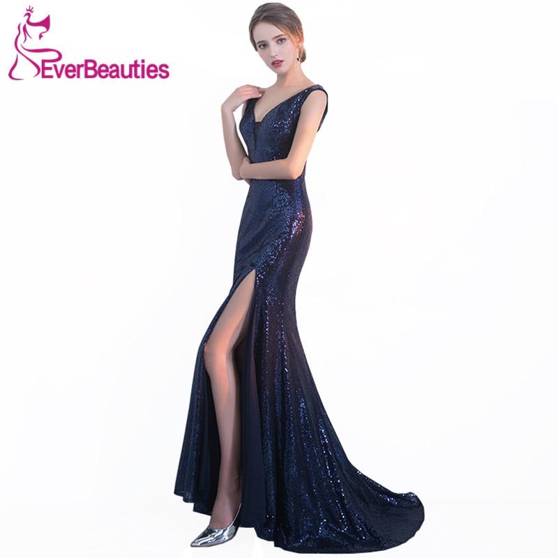 Mermaid   Prom     Dresses   Long 2019 Sequins with Side Slit Evening Party   Dresses   Sexy V Neck Vestido De Formatura Longo