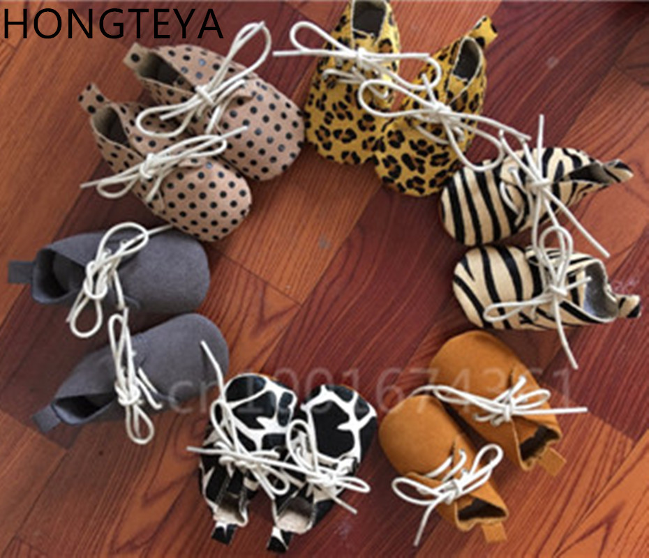 HONGTEYA 9 colors genuine leather baby moccasins lace up Poney hair polka dot soft sole baby girl boy shoes first walkers
