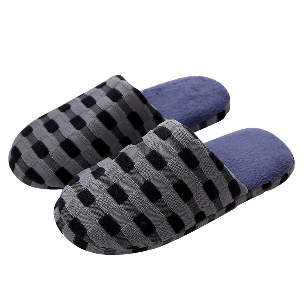 Winter Men Indoor Home Shoes Faux Fur Warm Slippers Warm Winter Home Slippers Indoor Bedroom faux fur padded pinstripe warm slippers