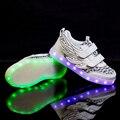 Size25-35//niños cesta de carga usb glowing luminoso niños shoes con luz led up casual shoes para niño y niñas zapatillas de deporte de neón