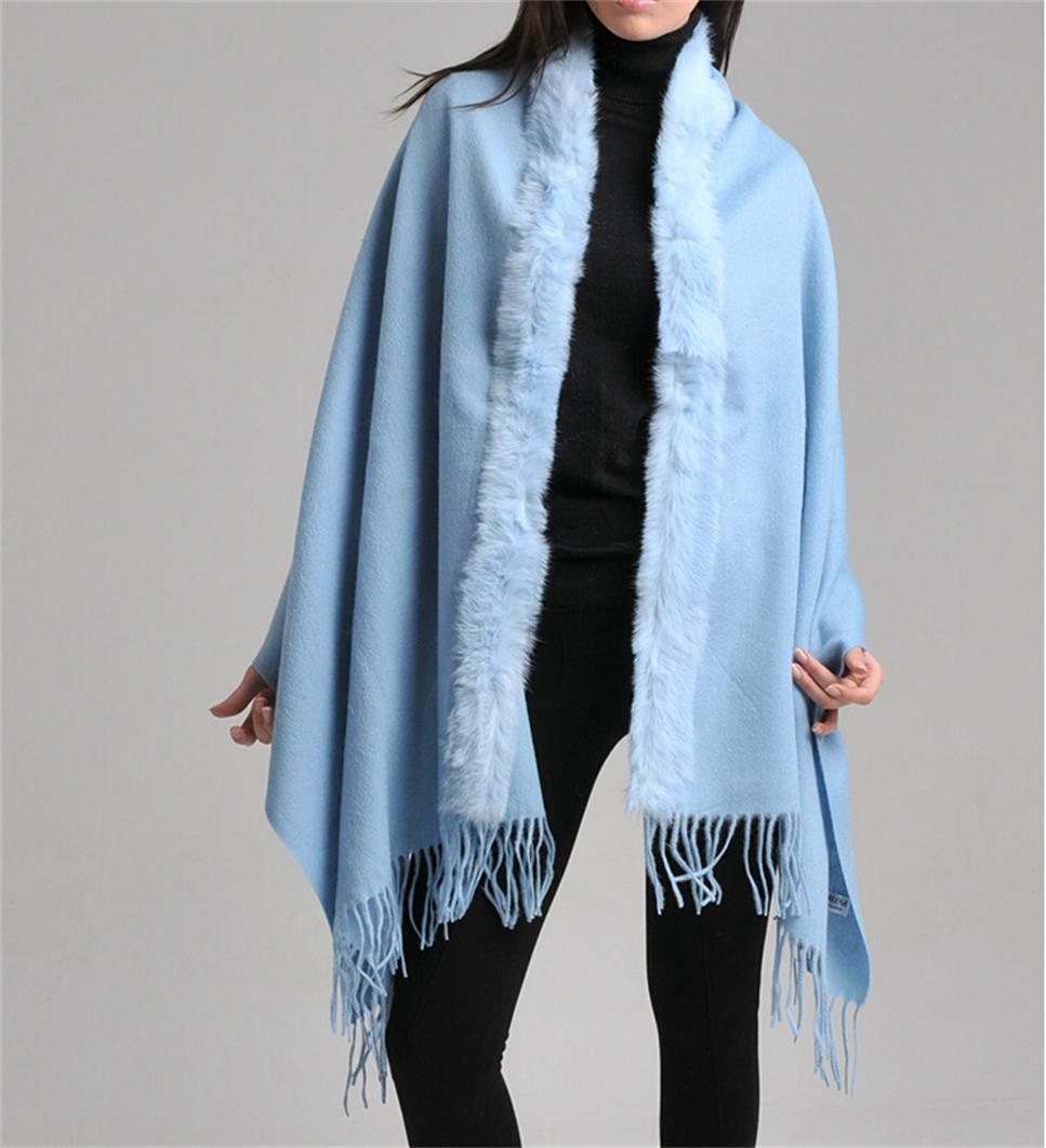 Light Blue Winter 100 Wool Cashmere Pashmina Scarf Female
