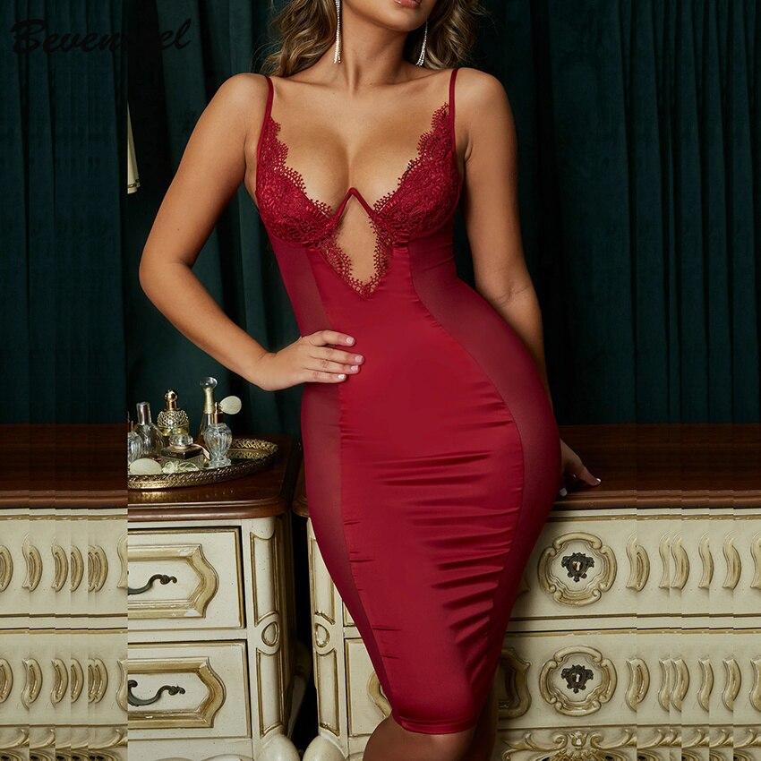 Bevenccel Sexy Mesh Bandage Dress Women Sleeveless V Neck Hollow Out Elegant Celebrity Evening Party Dress