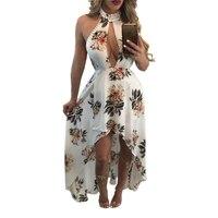 2017 new summer women white print flower floral sleeveless party dresses maxi long dress chiffon sexy beach vestidos HD002