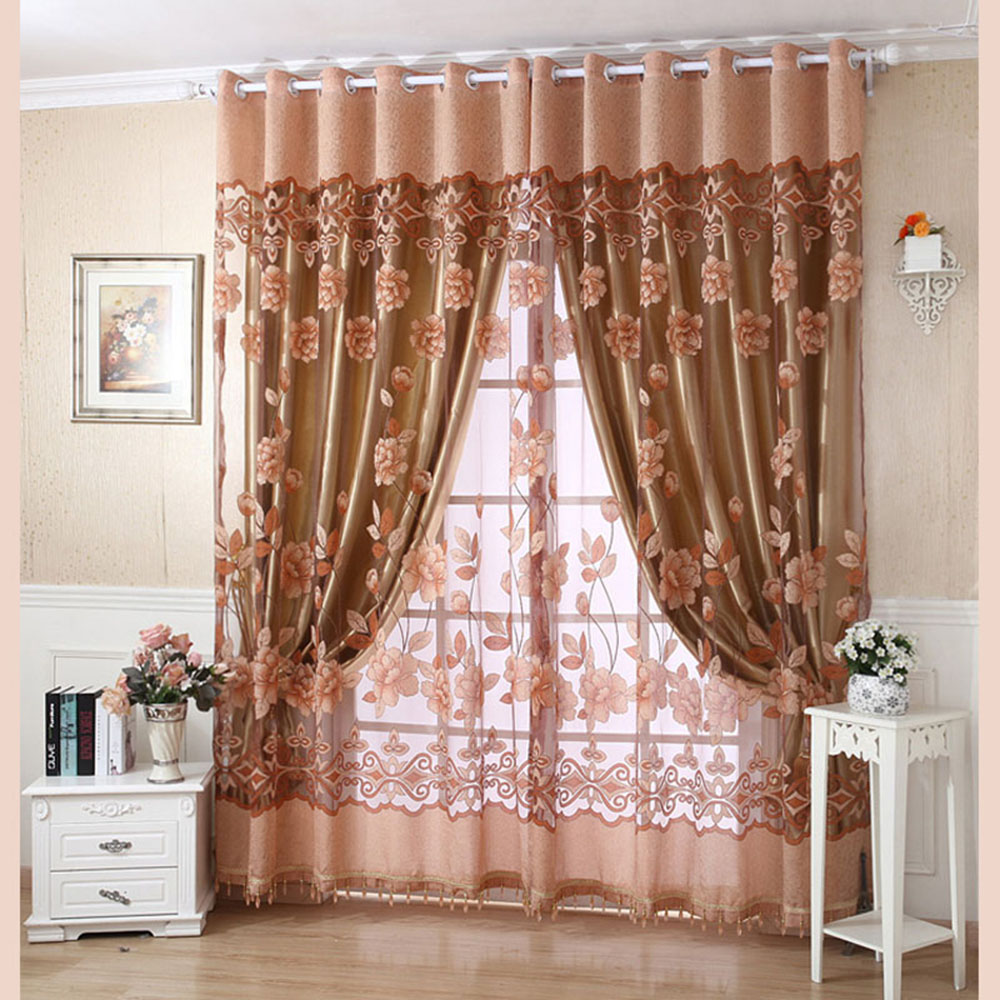 High Window Curtains: 2Pcs High End Floral Pattern Window Curtains For Living