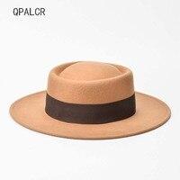 QPALCR New Fashion Wool Fedoras Hat Pork Pie Boater Flat Top Hat For Women's Men's Felt Caps Wide Brim Fedora Gambler Church Hat