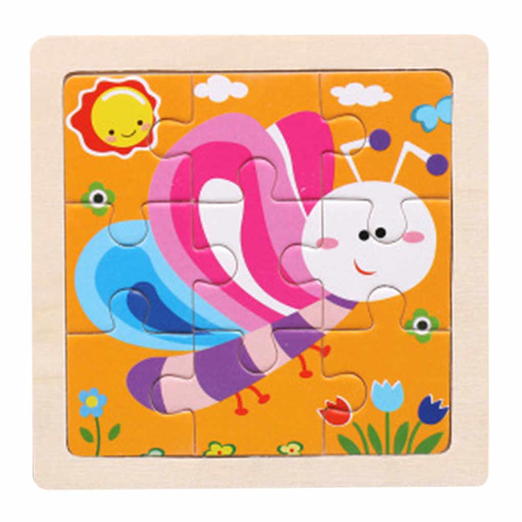 Маленький 9 шт. деревянные головоломки X9 частей головоломки деревянный животные пазл развивающие, Обучающие Детские обучающие игрушки # D6