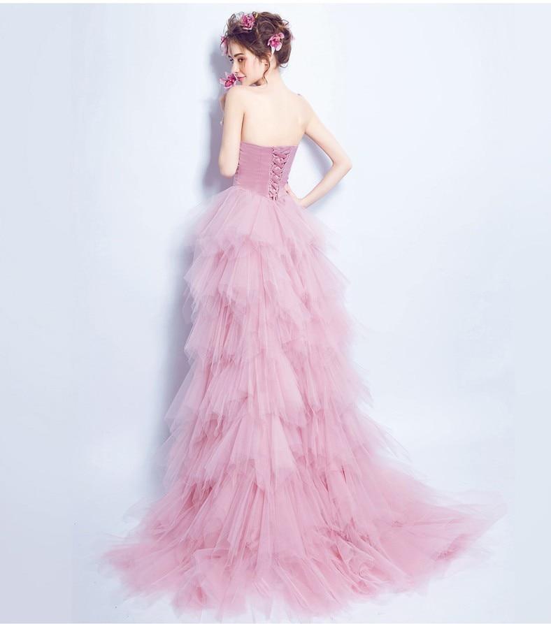 Vestido de Festa Strapless Tiered Tulle Short Front Long Back Prom ...