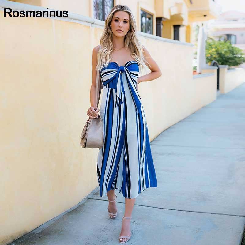 b2f053f5de9c Striped Jumpsuits Playsuit Women 2018 Summer Beach Strapless Wide Legs Sexy  Rompers Playsuits Backless Bow Overalls