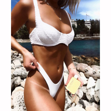 купить Women Thong Bikini Set Brazilian Biquini Swimwear Swimsuit Swimming Bathing Suit Swim Wear Push Up Bikinis Maillot De Bain Femme в интернет-магазине