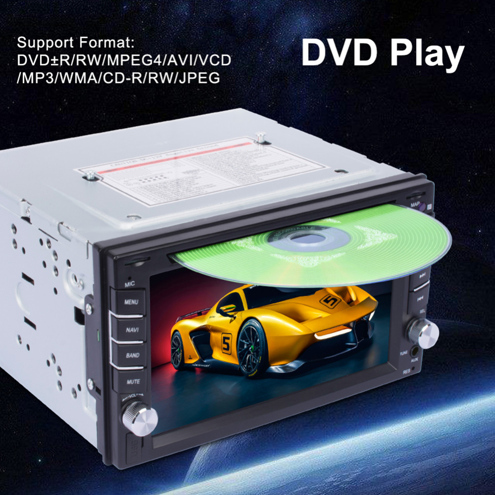 New <font><b>GPS</b></font> Navigation 2Din HD <font><b>Car</b></font> Stereo <font><b>DVD</b></font> CD Player With Rearview camera Touch Screen Support Bluetooth TV Call Player ME3L image