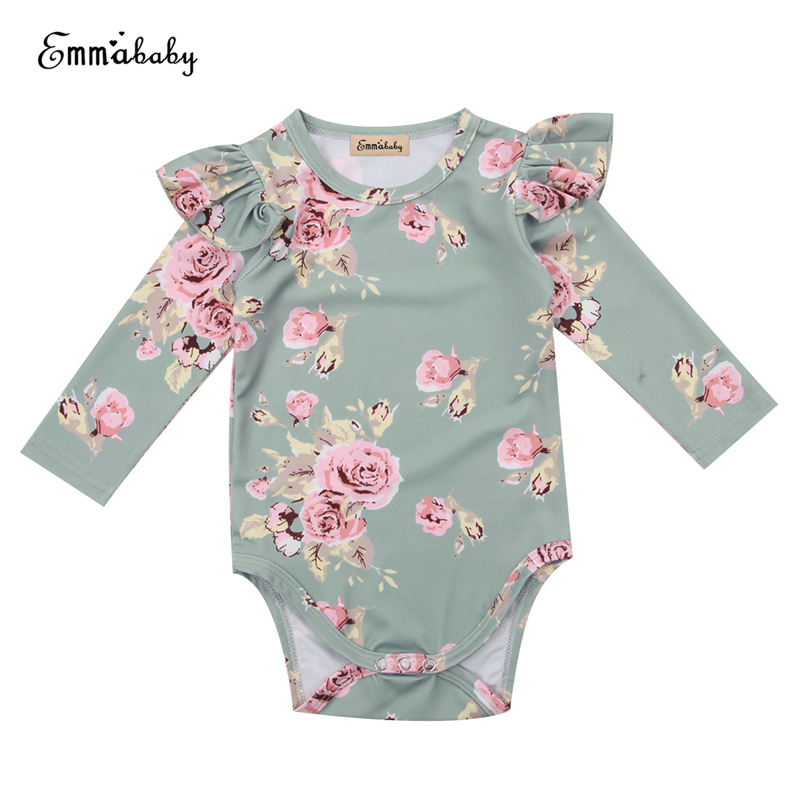 Baby Girl Butterfly   Romper   Baby Ruffle Floral   Romper   Hot Long Sleeve Body Suit For Newborns 2017 New Arrival Bebes Fall Jumpsuit