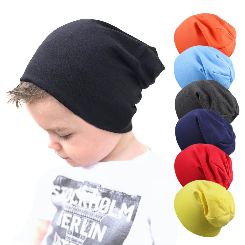 2019 Spring Cotton Children Hats Street Dance Hip Hop Cap Crochet Boy Cap Autumn Winter Baby Hat Girl Toddlers Solid Beanie Cap