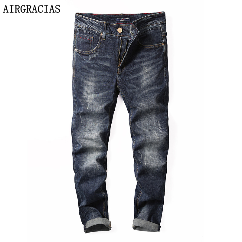 AIRGRACIAS Brand   Jeans   Retro Color Straight Denim   Jeans   Men 98% Cotton Size 28-40 Men Long Pants Trousers Classic Biker   Jean