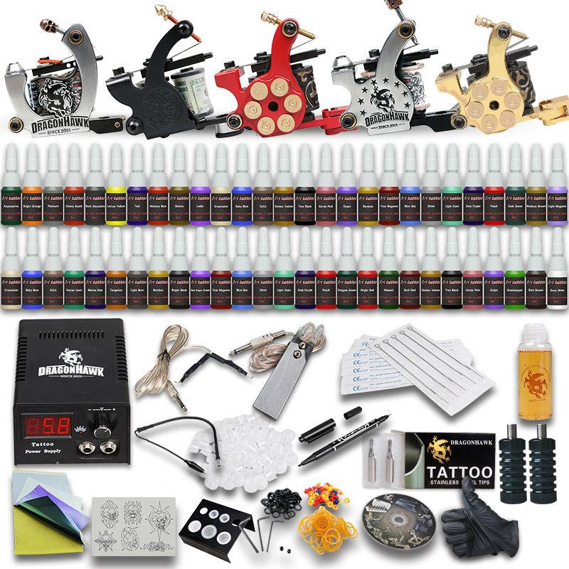 цена на Professional Tattoo Kit Set 5 Machine Guns 54 Inks Needles Grips Tips Tattoo Power Supply