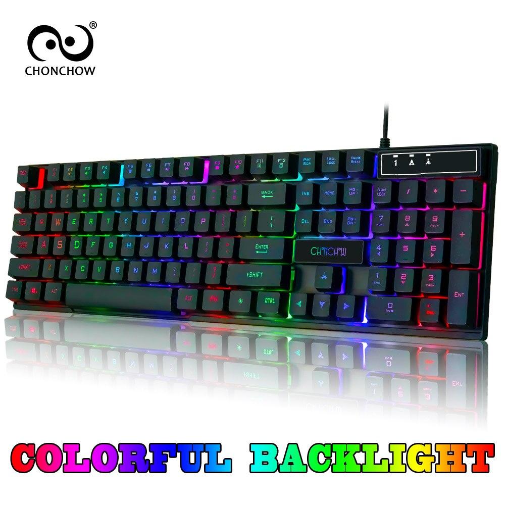 Gaming Keyboard Rainbow Backlit Colorful Keyboard Free RU ES FR HE Layout Sticker USB Wired Keyboard