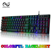 Gaming Keyboard Rainbow Backlit Colorful Keyboard Free RU/ES/FR/HE Layout Sticker USB Wired Keyboard Gamers Mechanical Feelling