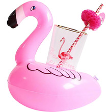 Cute Pool Bathing Beach Event Party Kids Toy Bath Toy Inflatable Floating Swimming Stand Flamingo Drink