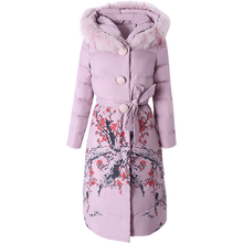 women down coats jackets warm white duck parkas flower embroidery Fox fur collar with hooded hat jacket big size