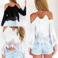 2016 Nuevo Verano camisa de La Gasa de Las Mujeres Del Hombro de La Blusa Ocasional Tanque Crop Tops Cover up Boho de Encaje blanco Blusa Femme blusas