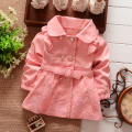 NEW Spring Autumn Girls Double Breasted Cardigan Infant baby kids Lace Coat Children Outwear Coats Belt Trench S1309
