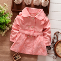Nova primavera outono meninas Double Breasted Cardigan infantil bebê crianças rendas casaco crianças Outwear casacos de trincheira cinto S1309