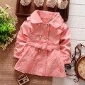 Nueva primavera otoño niñas doble botonadura Cardigan bebé infantil niños del cordón de los niños Outwear abrigos Trench cinturón S1309