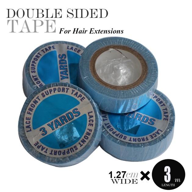 1pc 파란색 라이너 레이스 전면 지원 접착 테이프, 슈퍼 품질 더블 측면 Toupee 스트립 테이프, 머리 확장