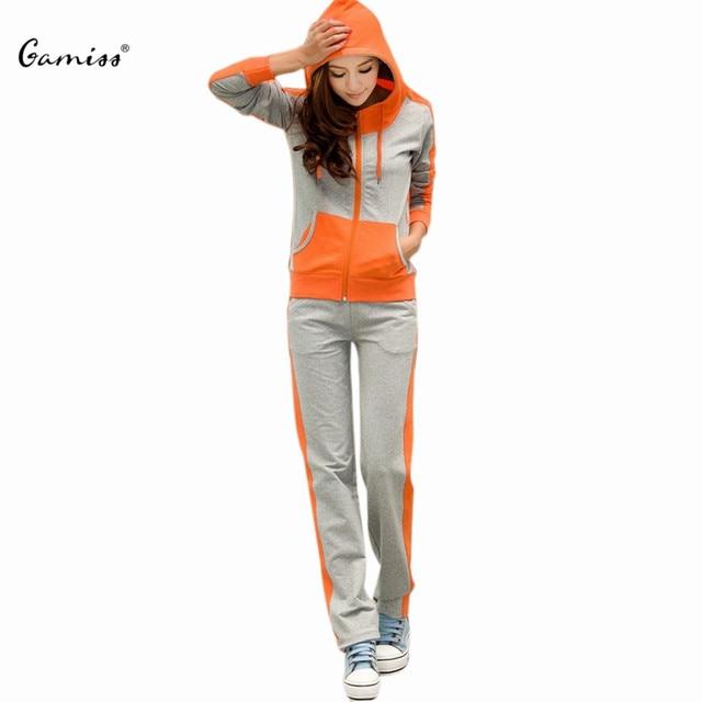 Gamiss Queda Casual Mulheres Conjuntos Com Capuz Bolso Patchwork Twinset Manga Longa Ativo Feminino Plus Size Zipper Outwear Conjuntos de Lazer