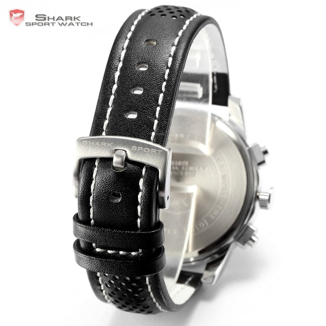 Pacific Angel Shark Sport Watch Men's White Date Day Fashion Casual Men Wristwatch Black Leather Strap Quartz Clock Male / SH093