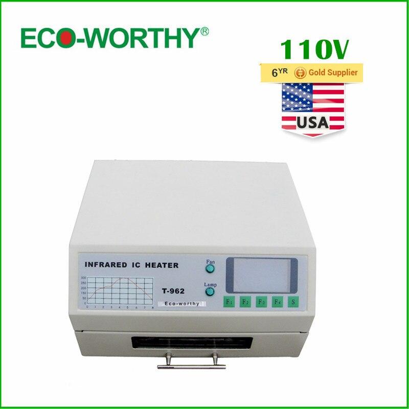 Эко США наличии 110 В T962 Цифровой Авто Инфракрасный Обогреватель печи оплавления паяльной BGA 180*235 мм 800 Вт
