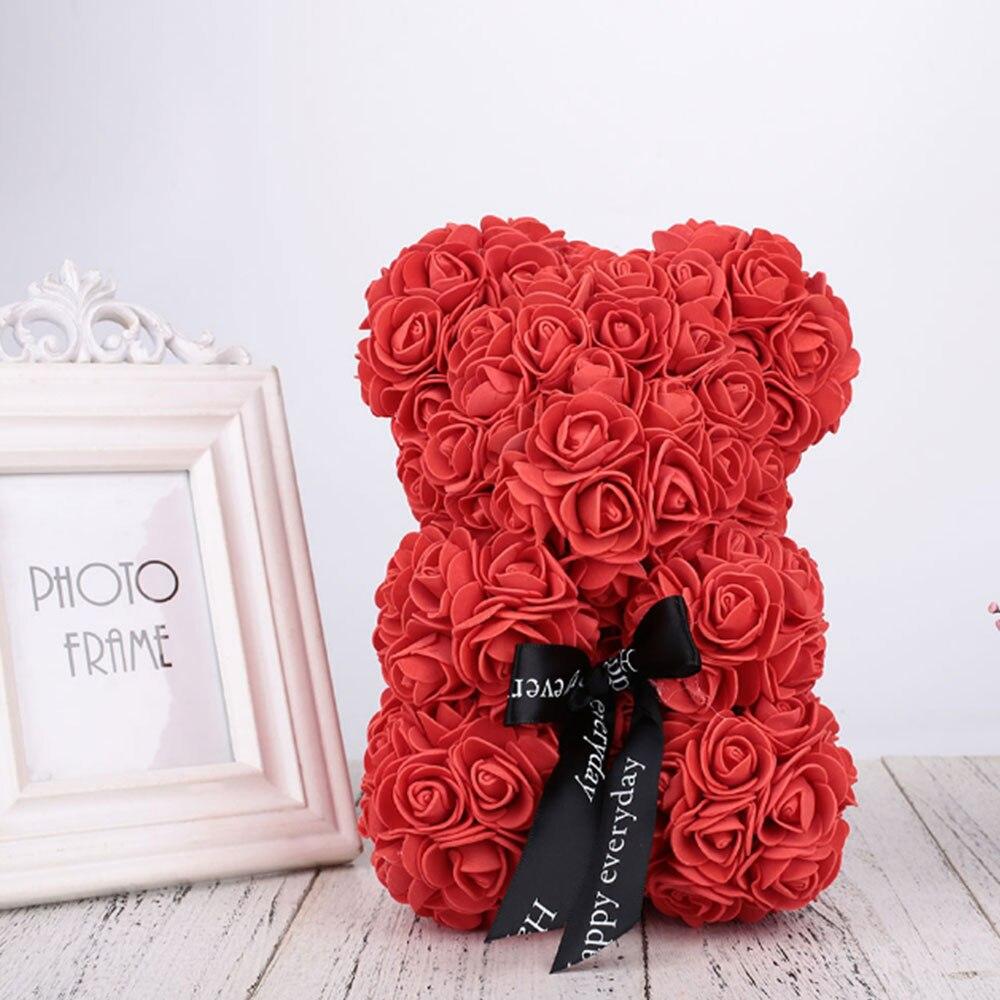 Искусственные цветы розы Медведь собака кролик Мопс юбилей день Святого Валентина подарок на день рождения мать подарок Свадебная вечеринка украшение - Цвет: 40CM Red Bear