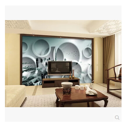 3d stereoscopic wallpaper black and white circle bedroom for Black and white living room wallpaper