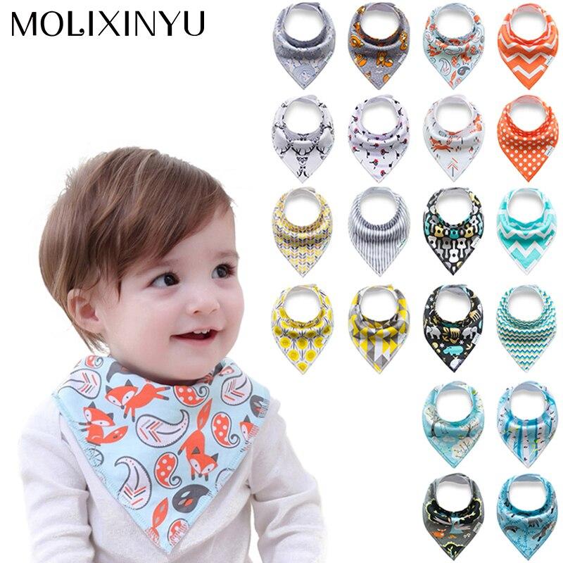 MOLIXINYU 4pcs/lot New Baby Bibs For Boy&Girl Burp Cloths Bandana Bibs Baby Bandana Infant Waterproof Bib Bandanas Dropshipping